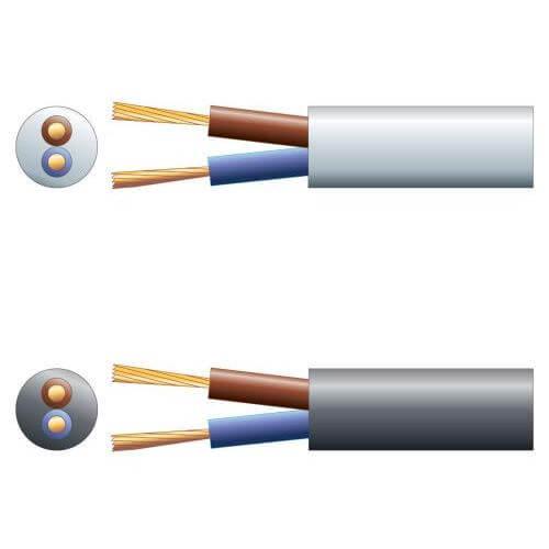 3182Y 2-Core Round PVC, 300/500V, HO5VV-F2, 10A Mains Cable Range