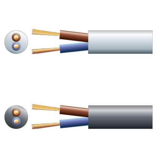 3182Y 2-Core Round PVC, 300/500V, HO5VV-F2, 15A Mains Cable Range