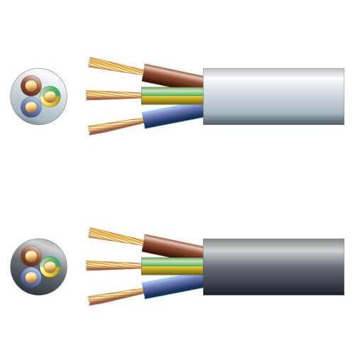 3183Y 3-Core Round PVC, 300/500V, HO5VV-F3, 10A Mains Cable Range