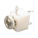 3.5mm Mono Chassis Socket, Closed with Switch, White