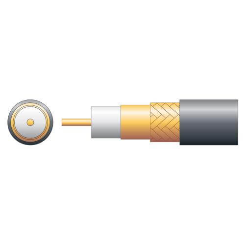 100U 75 Ohms Foam Filled Coaxial Cable, Copper Braid, Black, 100m Reel