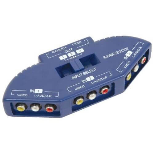 AVlink Audio/Video Input Selector 3 Way - Blue