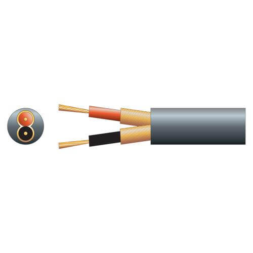 2-Core Individual Lap Screen Cable, 6.5mm Dia, Black, 100m Reel