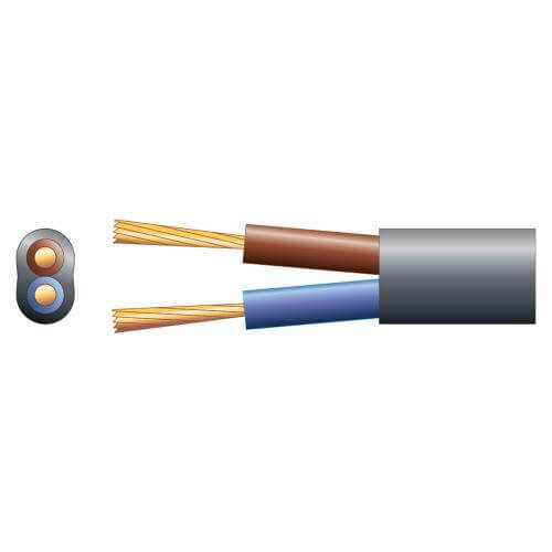 2-Core Oval Mains Cable, 2192Y, 6A, Black, 100m Reel