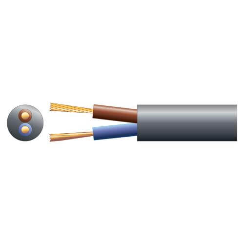 2-Core Round Mains Cable, 3182Y, 6A, Black, 50m Reel