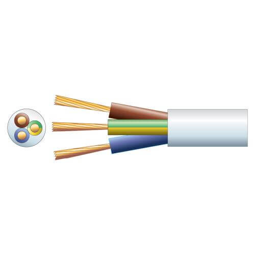 3-Core Round Mains Cable, 2183Y, 6A, White, 100m Reel