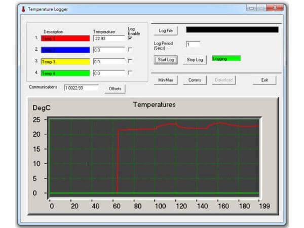 4-Channel Temperature Monitor/Logger for Dallas DS18S20