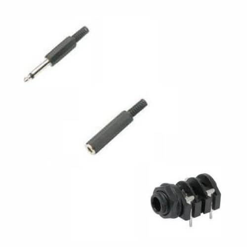 6.3mm Mono Jack Plugs - Sockets, 6mm Cable