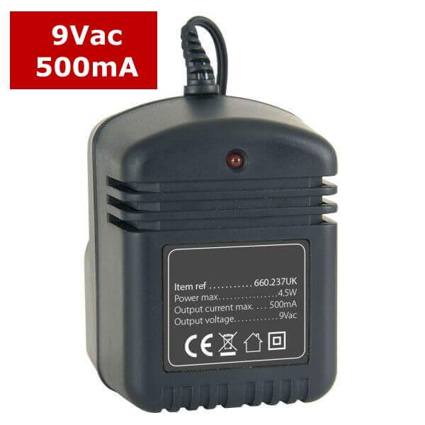 9V / 12V AC Power Supplies, 500ma (UK 230Vac)