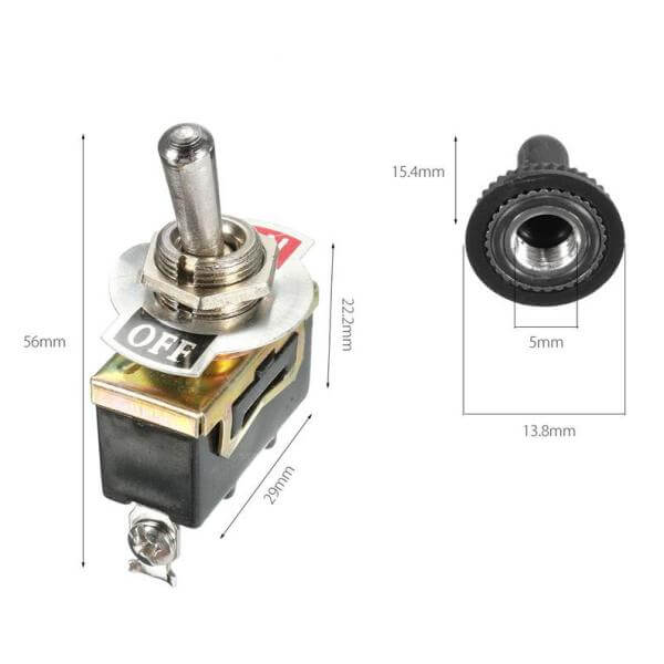 Toggle Switch with Indicator Plate, 1x On/Off SPST, 250Vac, 15A