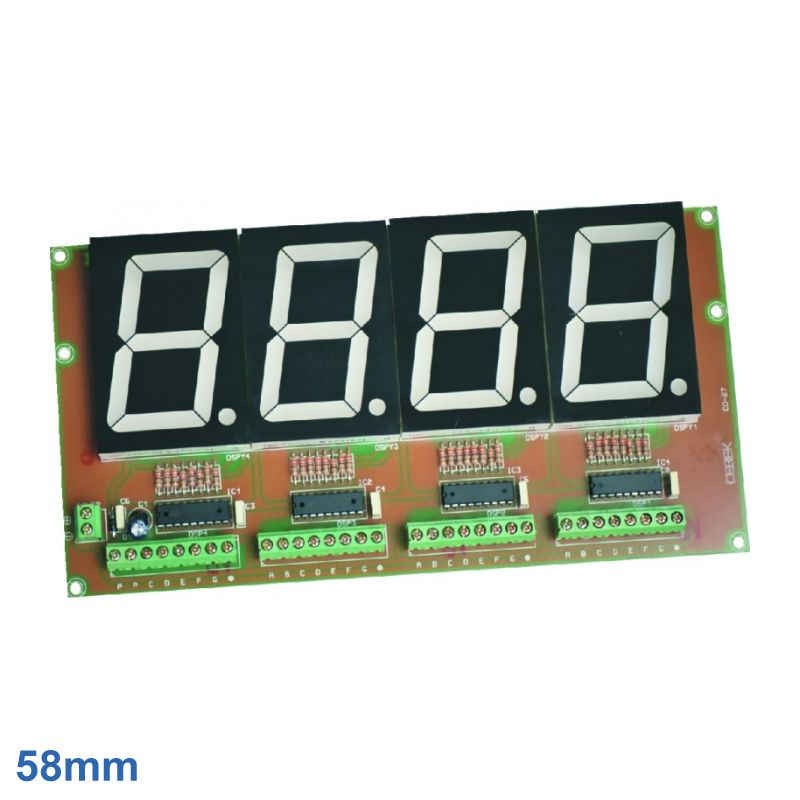 58mm High, 4-Digit, 7-Segment LED Display Board