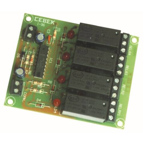 4-Channel Multiplexed Remote Control Relay Receiver