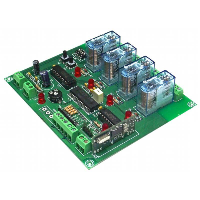 Expandable 4-Ch Momentary, Toggle, Timer RF Relay Receiver 12Vdc (Group 3)
