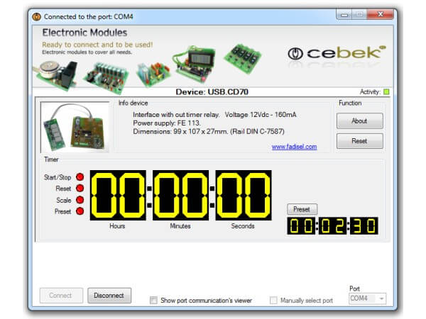 4-Digit USB Timer / Stopwatch with Relay