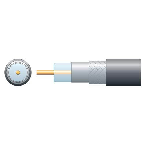 Economy RG6 75 Ohms Air Spaced Coaxial Cable, Aluminium Braid, Black, 100m Reel