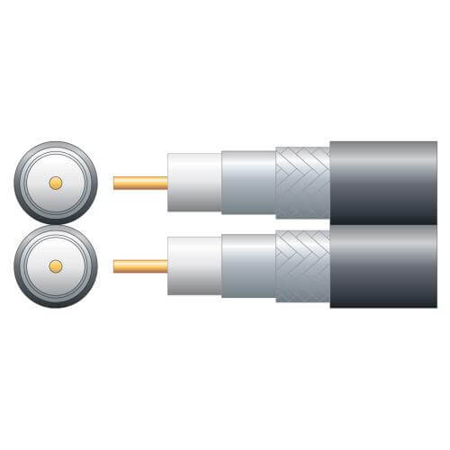 Economy Twin RG6 75 Ohms Foam Filled Coaxial Cable, Aluminium Braid, Black, 250m Reel