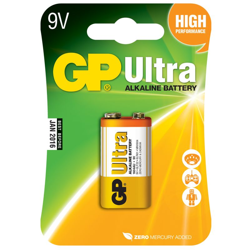 GP Ultra Alkaline 9V PP3 Batteries