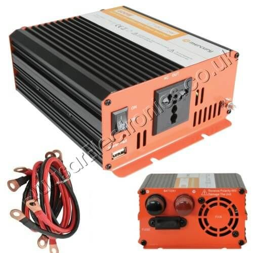 Power Inverter, 1000W Soft Start 12Vdc to 230Vac