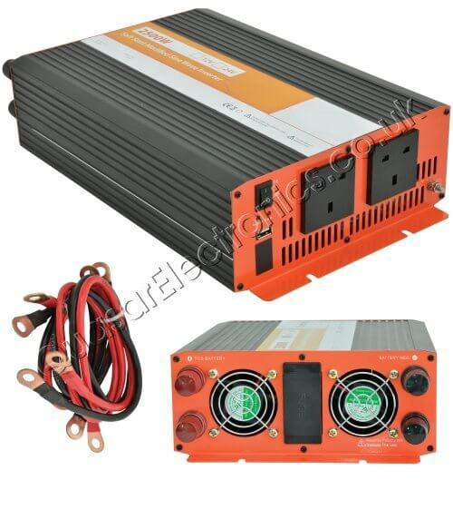 Power Inverter, 2500W Soft Start 12-24Vdc to 230Vac