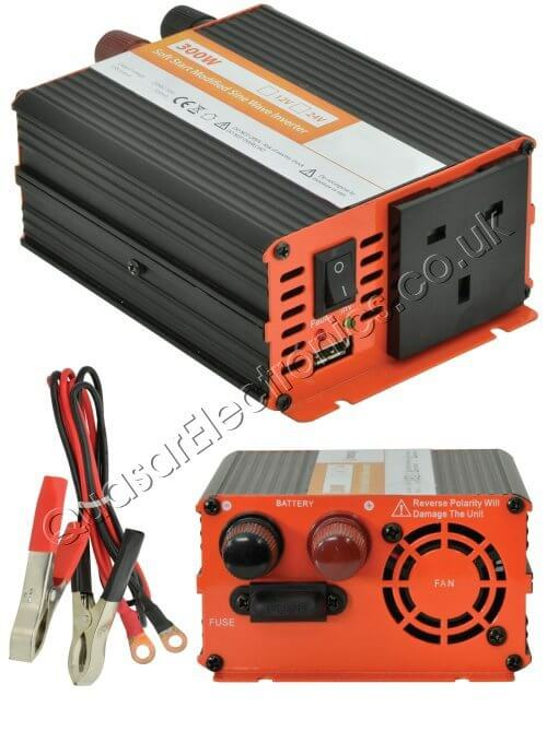 Power Inverter, 300W Soft Start 12Vdc to 230Vac