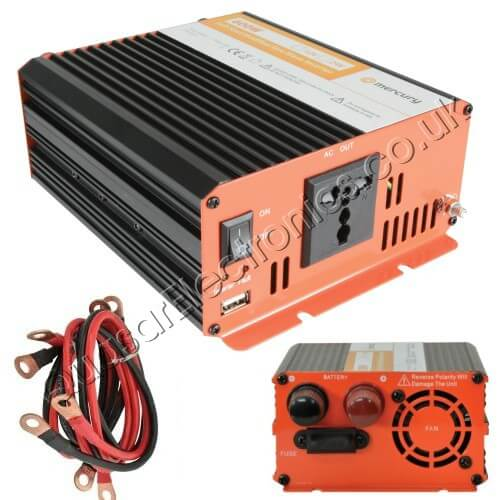 Power Inverter, 600W Soft Start 12-24Vdc to 230Vac