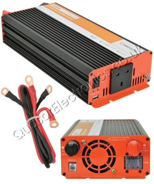 1000W Pure Sine Wave Power Inverter, Soft Start 12Vdc to 230Vac
