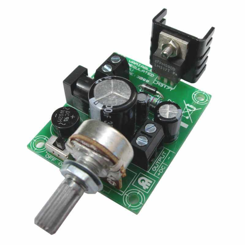 1.5-30Vdc, 1.5A Regulated LM317 Adjustable Power Supply Kit