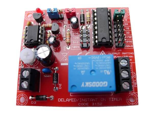 12Vdc Instant On or Delayed-On Timer Relay Board
