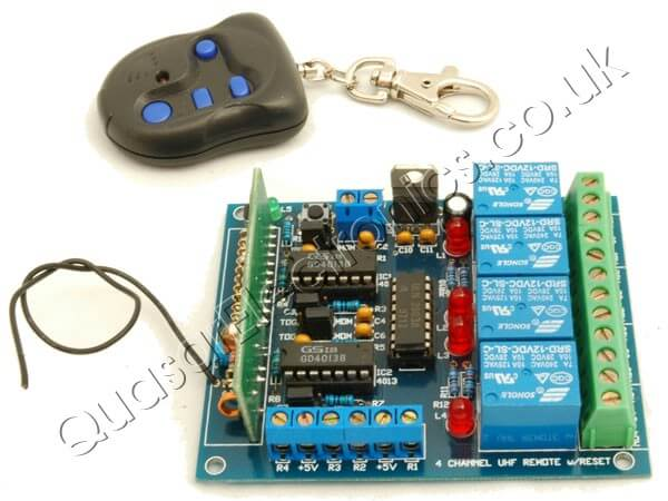 4 Channel Wireless RF Remote Control Relay Switch Board with Limit Switch Inputs