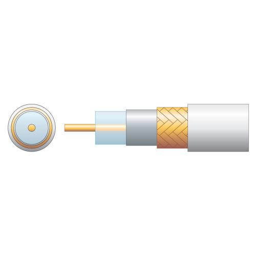 RG6 75 Ohm Air Spaced PE Coaxial Cable, Copper Braid, White, 100m Reel