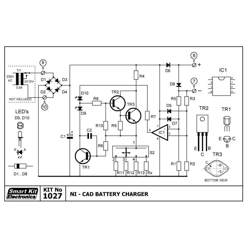 Nickel Cadmium Battery Charger Circuit Diagram | Ni Cad Battery Charger Smart Kit 1027