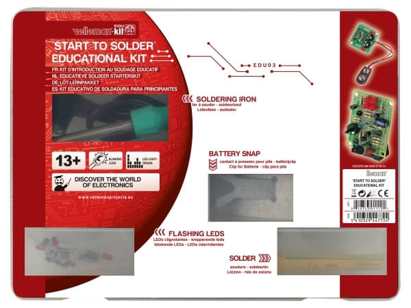 Velleman EDU03 - Start to Solder Educational Kit (2-pin Euro Plug Soldering Iron)