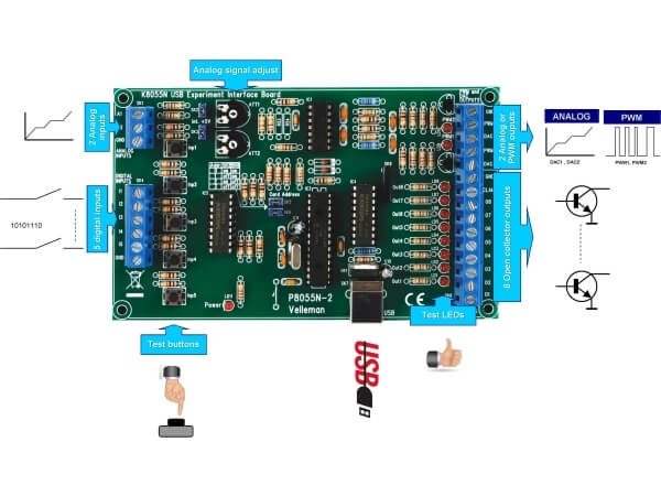 Velleman K8055N USB Experiment Interface Board | Quasar Electronics UK