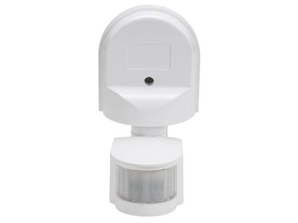 240Vac PIR Motion Detector, Wall Mount, Swivel Head, IP44 Rated (White)