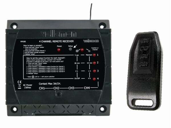 Velleman VM160 4-Channel RF Remote Control Set | Quasar Electronics UK