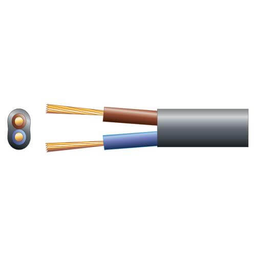 2-Core Oval Mains Cable, 2192Y, 3A, Black, 50m Reel