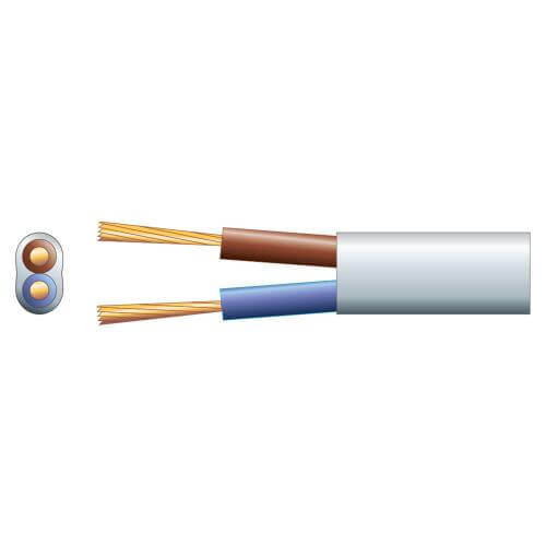 2-Core Oval Mains Cable, 2192Y, 3A, White, 50m Reel