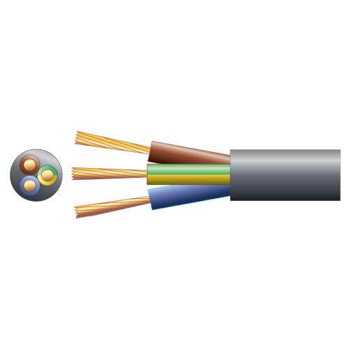 3-Core Round Mains Cable, 2183Y, 6A, Black, 50m Reel