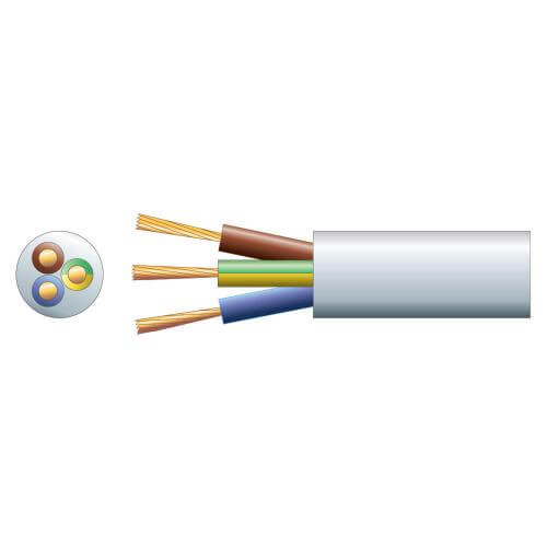 3-Core Round Mains Cable, 3183Y, 15A, White, 50m Reel