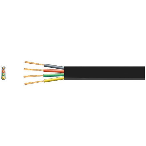 4 Core Flat Tel/Data Cable, 4 x 7/0.15mm, Black
