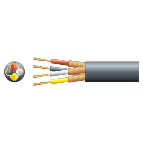 4-Core Individual Lap Screen Cable, 4.5mm Dia, Black, 100m Reel