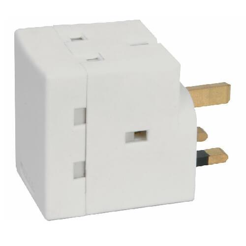MSA335FBL 3-Way Fused 13A Adaptor, White
