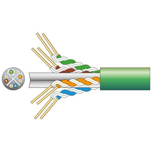 Cat6 U/UTP Network Cable, Green, 305m Box