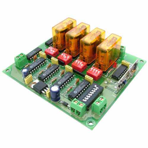 Expandable 4 Channel Momentary Relay Receiver Module, 12Vdc