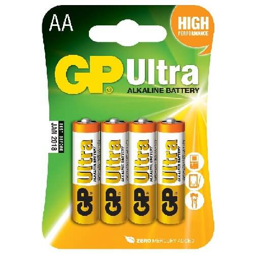 656.010UK - GP Ultra Alkaline 1.5V AA (LR06) Batteries (4 Pack)