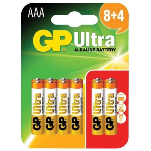656.016UK - GP Ultra Alkaline 1.5V AAA (LR03) Batteries (12 Pack)
