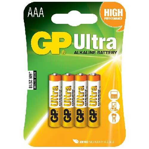 656.013UK - GP Ultra Alkaline 1.5V AAA (LR03) Batteries (4 Pack)