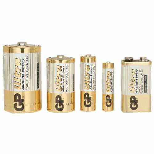 GP Ultra Alkaline Batteries - AAA, AA, C, D and PP3