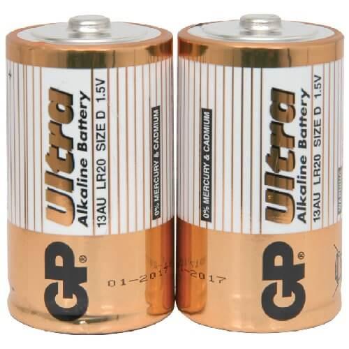 GP Ultra Alkaline 1.5V D (LR20) Batteries (2 Pack)