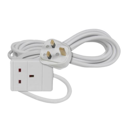 429.763UK - 1-Gang 13A White Mains Extension Leads, 3.0 Metre